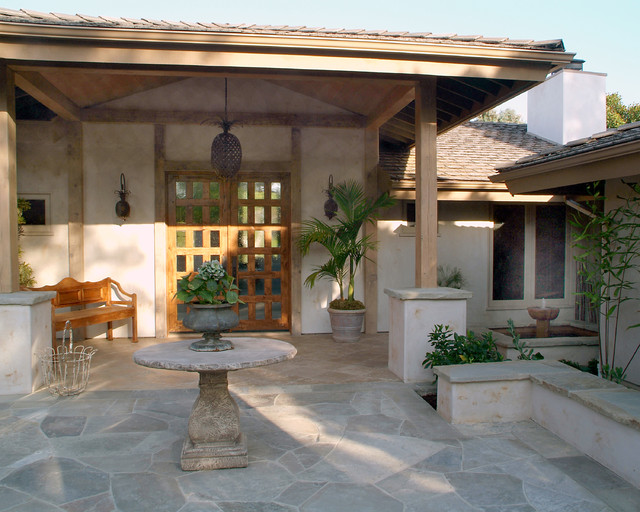 flagstones Porch Traditional with bench wall chandelier and wall sconces covered patio entry