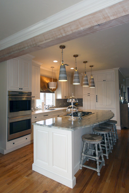 Flambeau Lighting Kitchen Transitional with Classic Cupboards Double Wall Ovens Galley Kitchen Island Seating