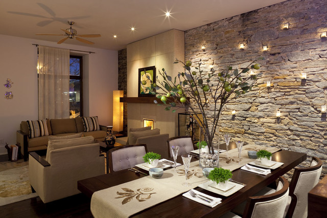 Flameless Votive Candles Dining Room Contemporary with Centerpiece Modern Fireplace Neutral Open Floor Plan Stone Wall