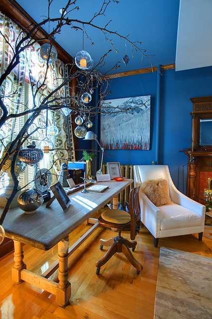 Flameless Votive Candles Home Office Eclectic with Blue Walls Bold Colors Crown Molding Curtains Decorative Pillows
