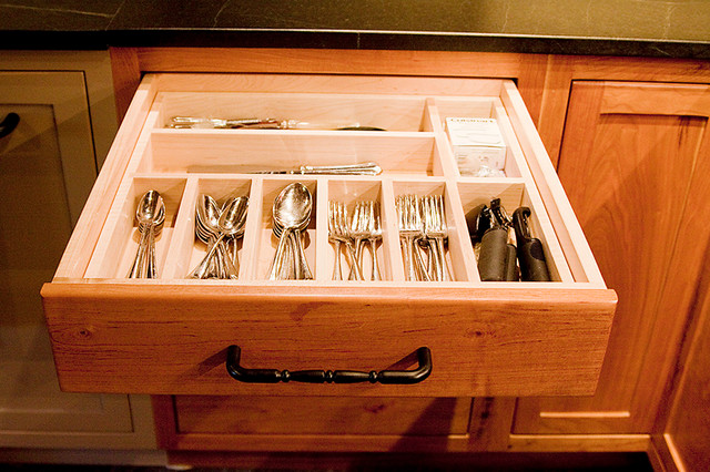 Flatware Caddy Kitchen Farmhouse with Custom Drawers Farmhouse Kitchen Painted Reclaimed Wood Cabinetry Reclaimed