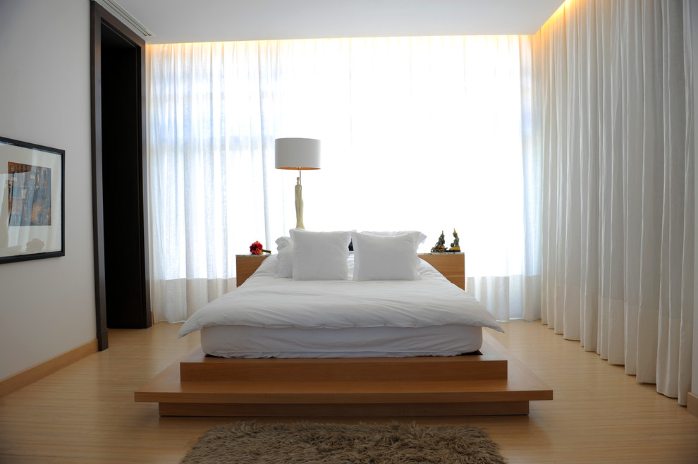 Floating Platform Bed Bedroom Contemporary with Cove Lighting Curtains Drapes Drum Lampshade Low