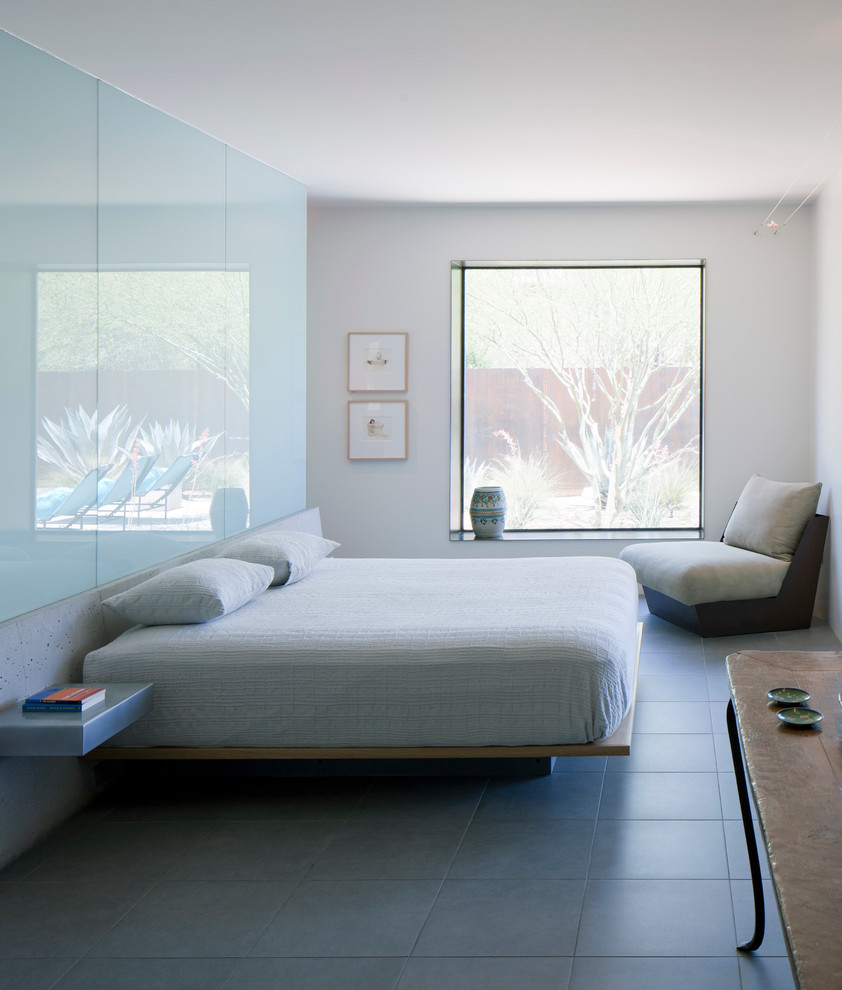Floating Platform Bed Bedroom Contemporary With Blue