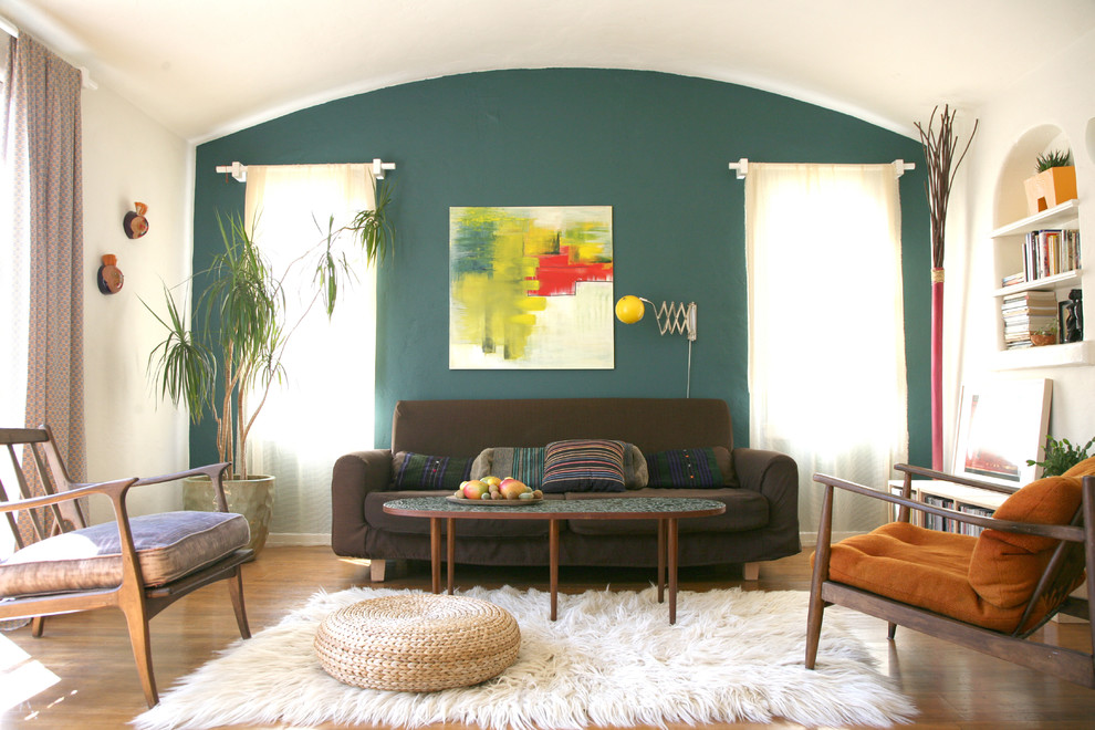 Flokati Rug Living Room Eclectic with Arch Arched Ceiling Built in Shelves Chocolate Brown