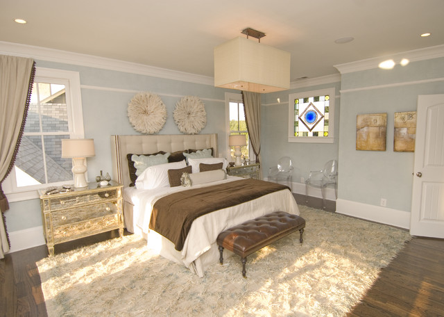 Flokati Rugs Bedroom Contemporary with Area Rug Baseboards Bedside Table Blue and Brown Ceiling