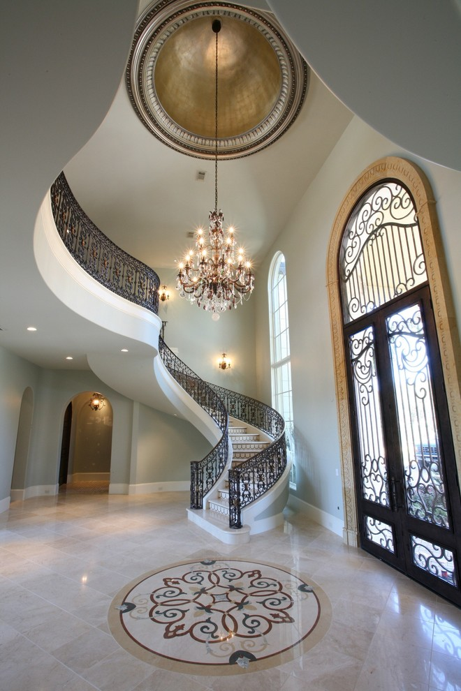 Floor Medallions Entry Victorian with Banister Ceiling Lighting Ceiling Treatment Chandelier Dome