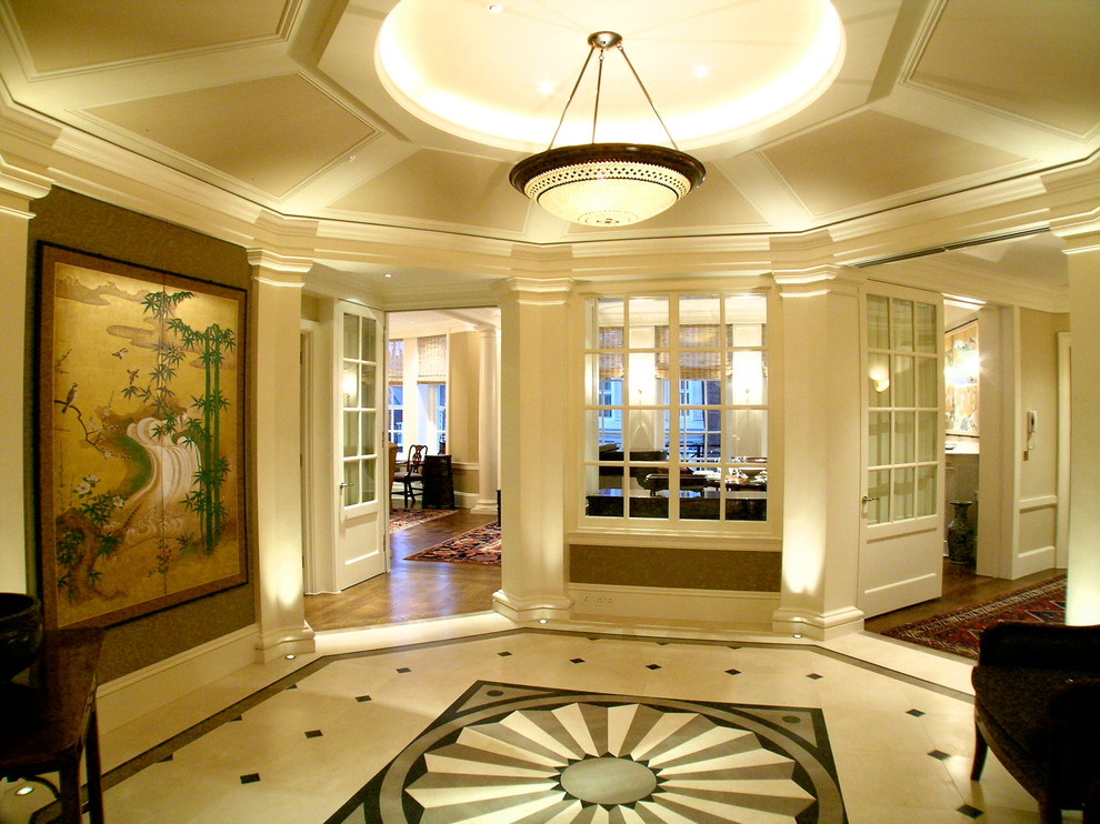 Floor Medallions Hall Traditional With Artistic Lighting Beige Tile