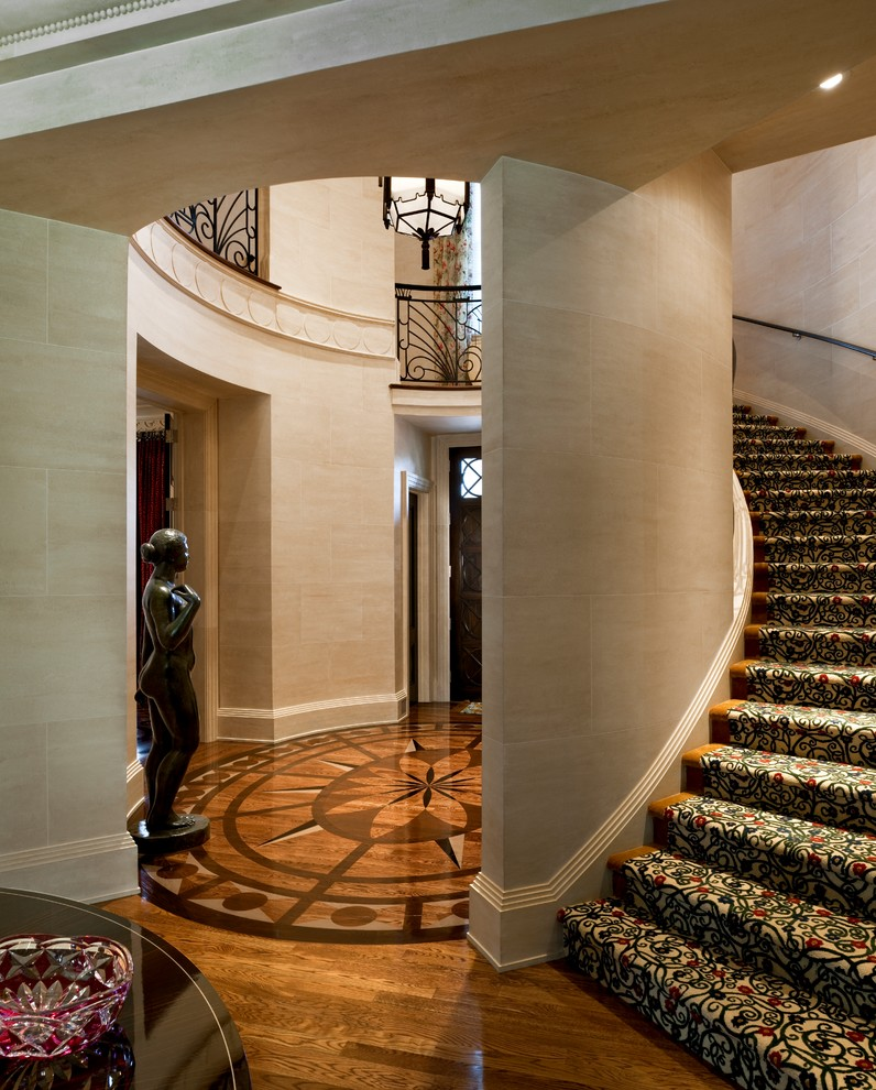 Floor Medallions Staircase Traditional with Curved Staircase Pendant Lighting Stair Rail Stair