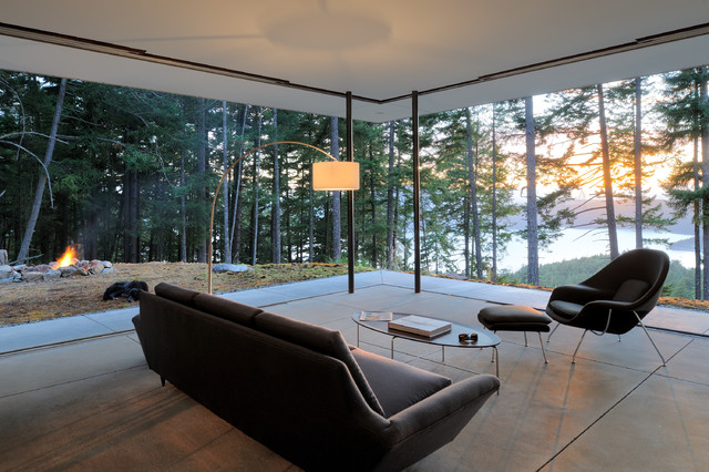 Florence Knoll Living Room Contemporary with Beautiful View Concrete Floor Ecobalanza Elliptical Coffee Table Indoor