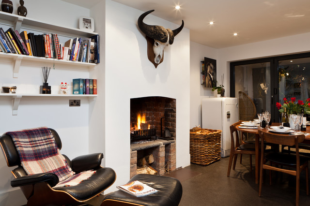 Florence Knoll Living Room Eclectic with Bi Fold Doors Bison Bookshelves Built in Storage Cozy