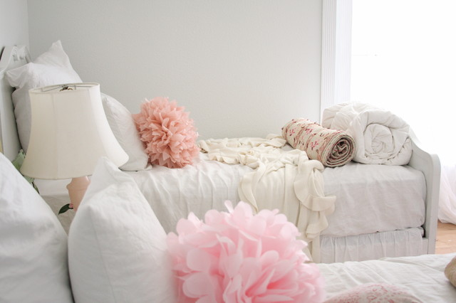 fluffy pillows Bedroom Shabby-chic with DIY French country grey wall monochromatic neutral colors paper
