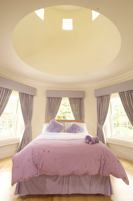 Fluffy Pillows Bedroom Traditional with Circular Room Crown Molding Curtain Panels Curved Room Dome