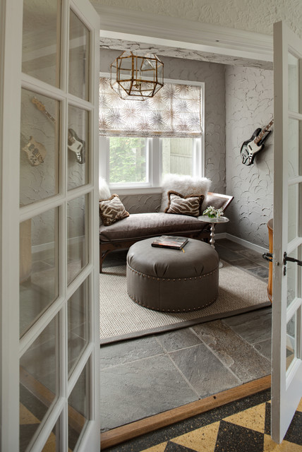 Fluffy Pillows Family Room Eclectic with Cool Colors Electric Guitar Faux Fur Pillows French Doors