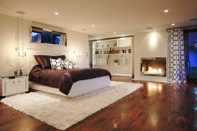 Fluffy Rug Bedroom Contemporary with Area Rug Bed Pillows Bedside Table Bookcase Brown Bedding