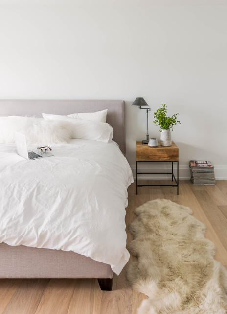 Fluffy Rug Bedroom Scandinavian with Blond Wood Natural Grain Side Board Upholstered Bed White
