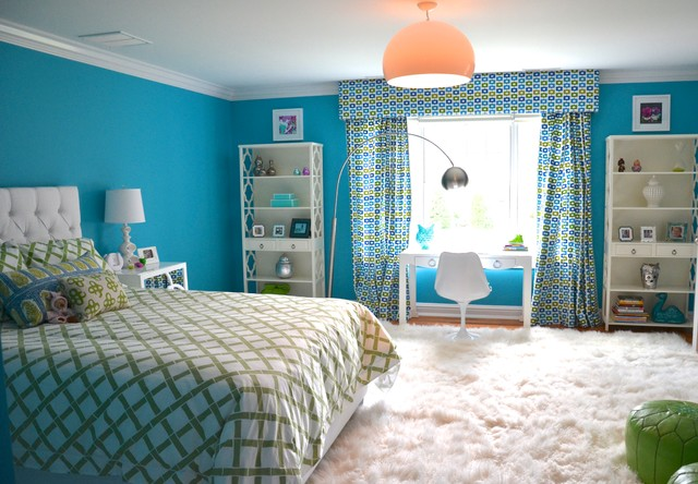 Fluffy Rug Kids Eclectic with Area Rug Bookcase Bookshelves Bright Colorful Curtains Custom Bed