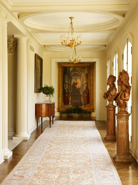 Fluted Columns Hall Traditional with Arch Doors Bust Ceiling Treatment Chandelier Console Doric Columns