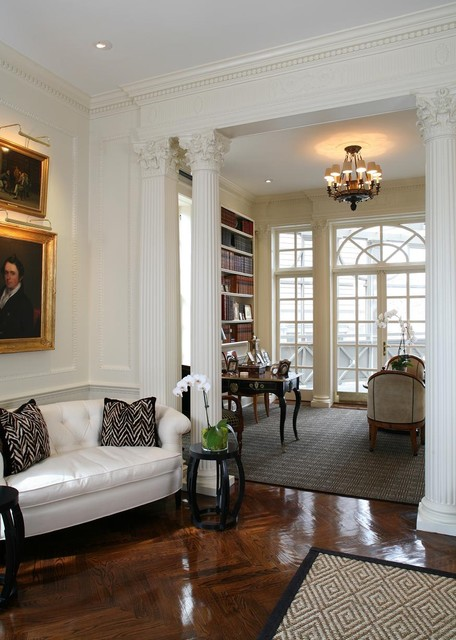 Fluted Columns Living Room Traditional with Antiques Artwork Chandelier Column Crown Molding Library Moldings Pendant