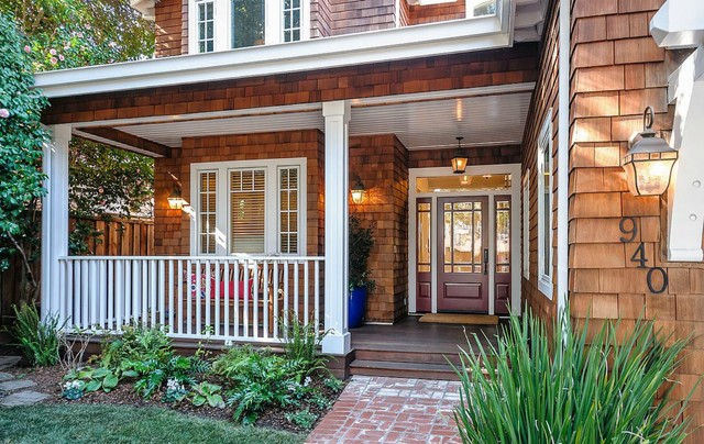 Fluted Columns Porch Traditional with Coach Lamp Fluted Columns Front Door Front Porch Medium