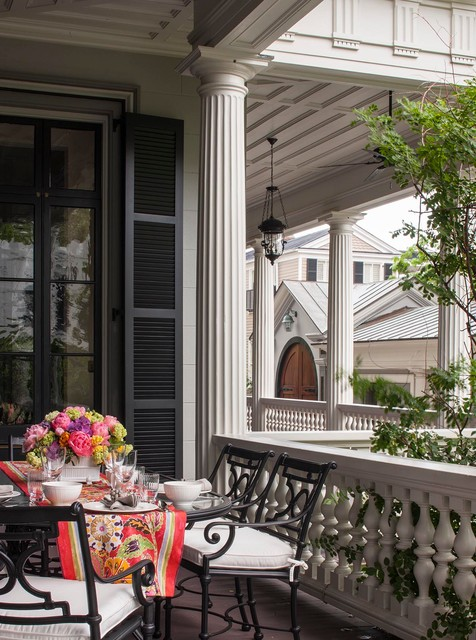 Fluted Columns Porch Victorian with Black Shutters Fluted Columns Outdoor Dining Pendant Lights White