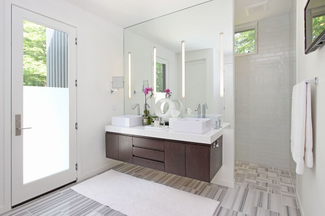 Fogless Shower Mirror Bathroom Contemporary with Bath Bathroom Floating Cabinet Glass Glass Tile Led Marble