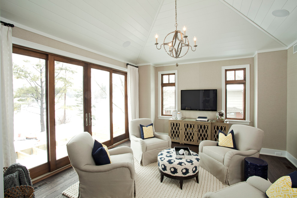 Footstool with Storage Family Room Transitional with Armillary Sphere Light Fixture Baseboards Beige Armchair