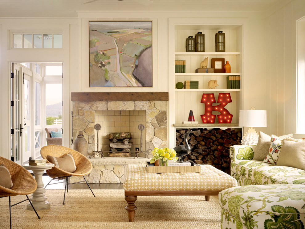 Footstool With Storage Living Room  Farmhouse With Art Above Fireplace Beige Area Rug Built