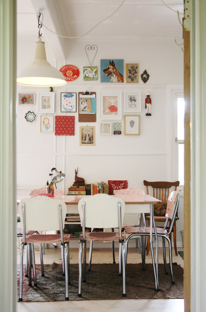 Formica Table Spaces Shabby Chic with Area Rug Collection Flea Market Style Gallery Wall Pendant