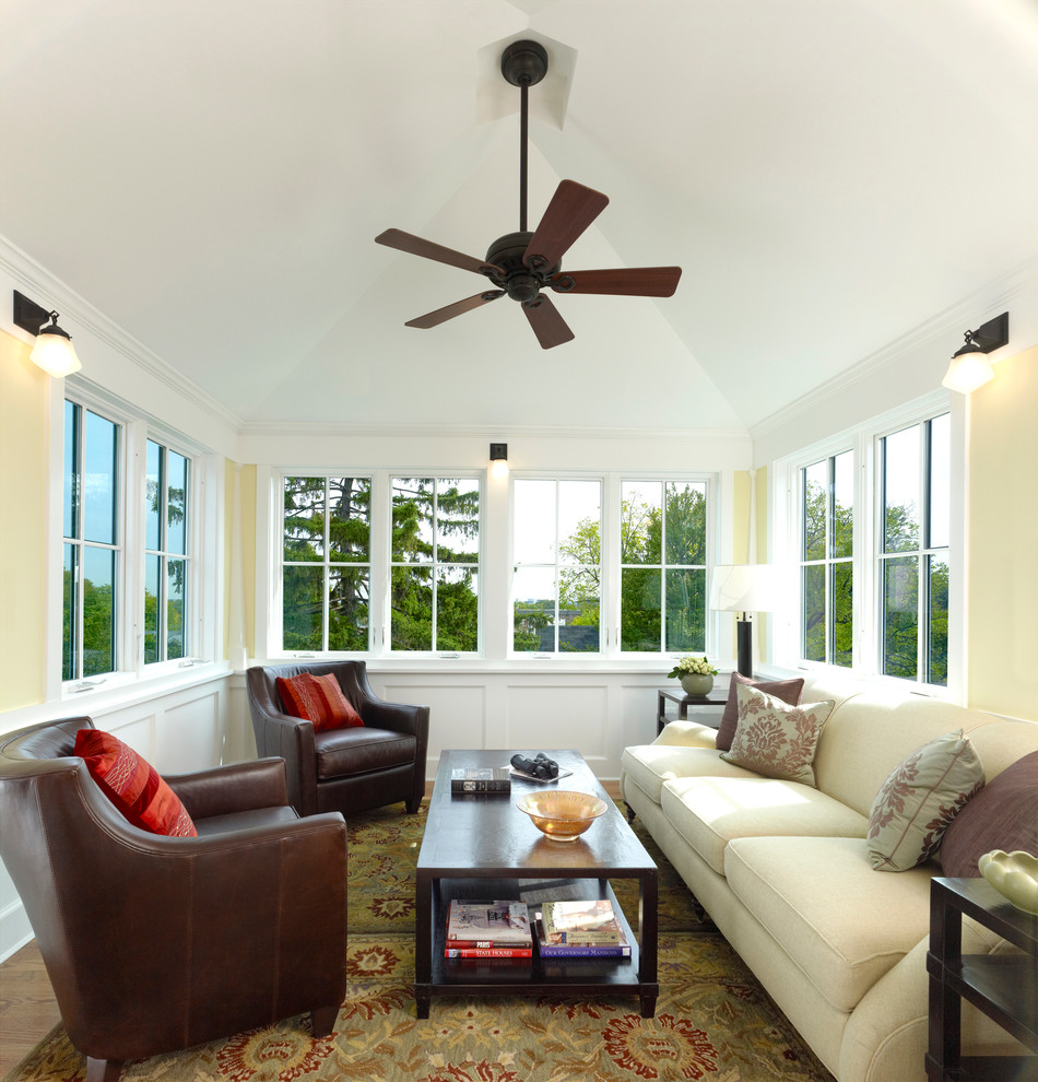 four seasons sunrooms Sunroom Craftsman with 2 over 2 windows area rug cathedral
