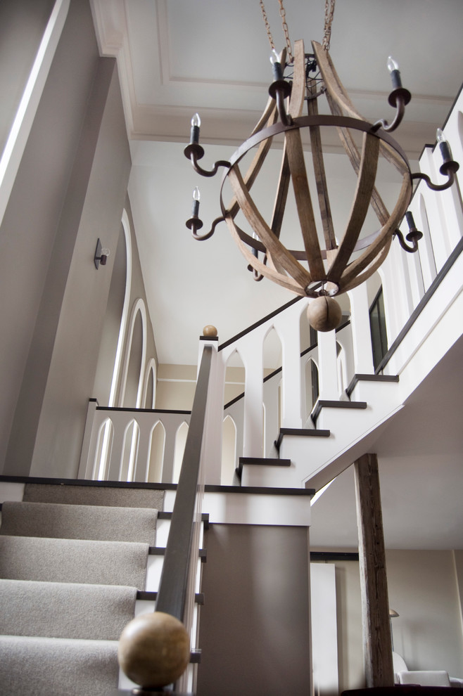 Foyer Chandeliers Staircase Modern with Beige Wall Bobo Carpeted Stairs Chandelier Dark