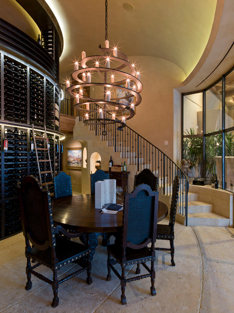 Foyer Chandeliers Wine Cellar Contemporary with Candle Chandelier Ceiling Lighting Concrete Floor Curved Staircase Dark