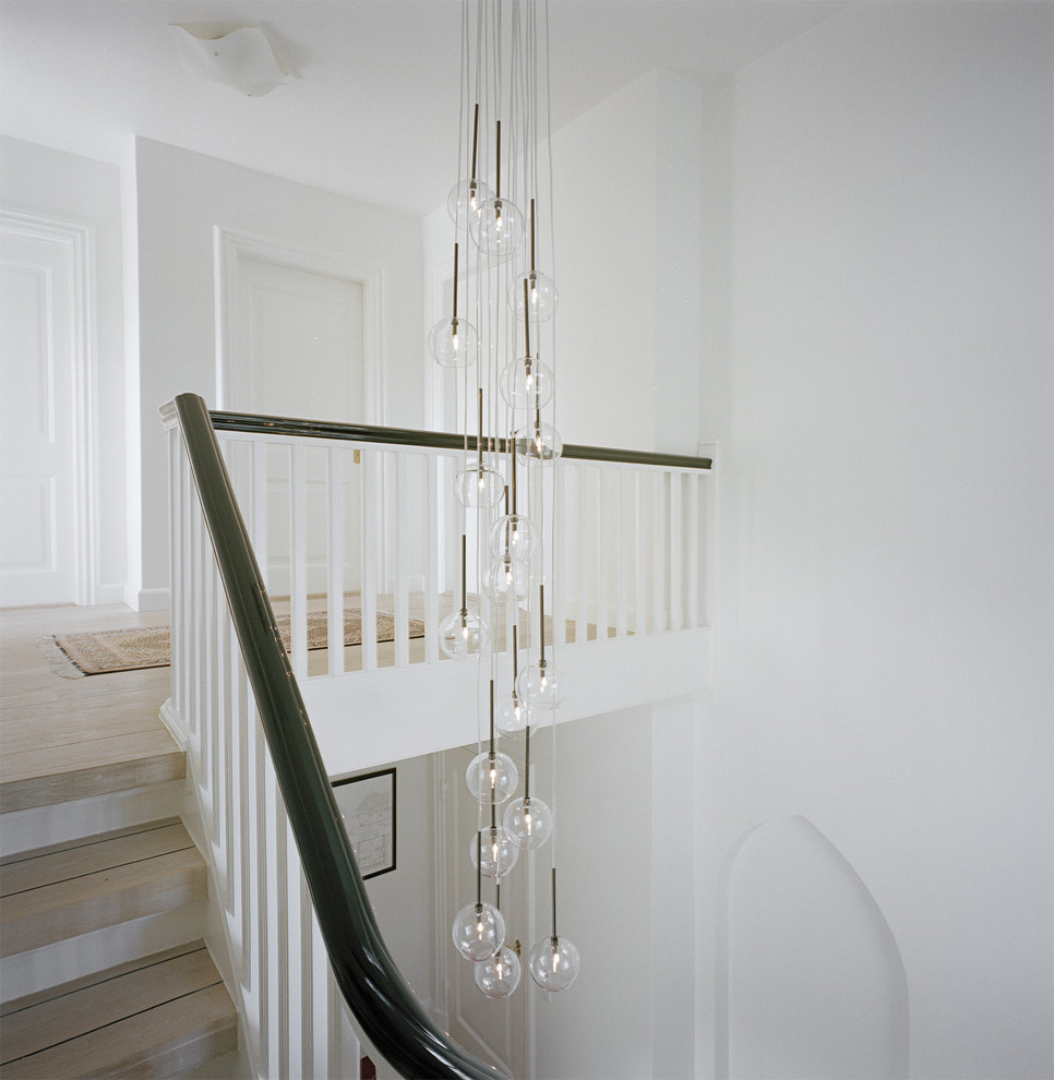 Foyer Lighting Fixtures Staircase Transitional with Black Handrail Bubble Light Fixture Chandelier Curved