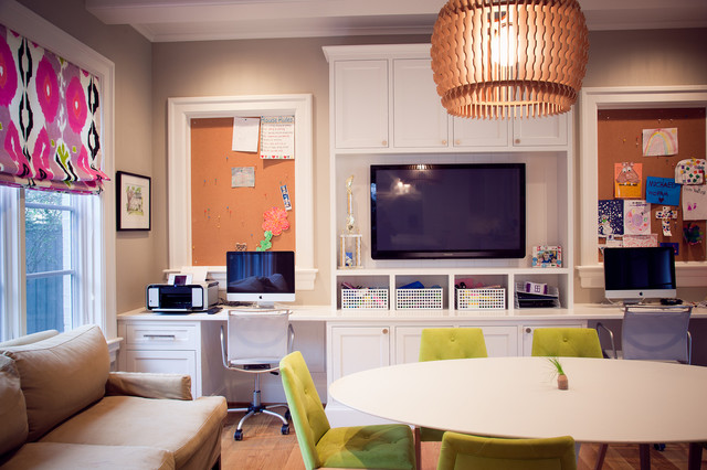 Framed Cork Board Home Office Traditional with Bright Colors Built in Desk Ceiling Light Cubbies Double Desks