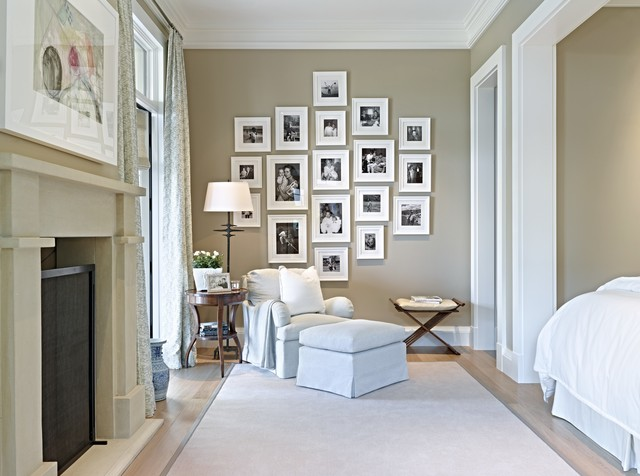 Frameless Picture Frames Bedroom Transitional with Beige Rug Black and White Photographs Dark Wood Bench