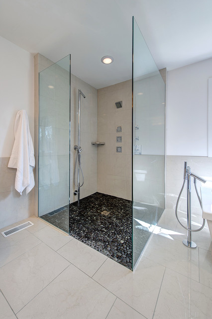 Frameless Shower Enclosures Bathroom Contemporary with Black and White Bath Curbless Shower Frameless Shower Enclosure1