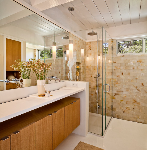 Frameless Shower Enclosures Bathroom Midcentury with Double Sinks Double Vanity Earth Tones Exposed Beams Frameless1