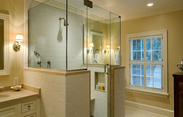Frameless Shower Enclosures Bathroom Traditional with Bathroom White Tile Country Home Farmhouse Frameless Shower Enclosure