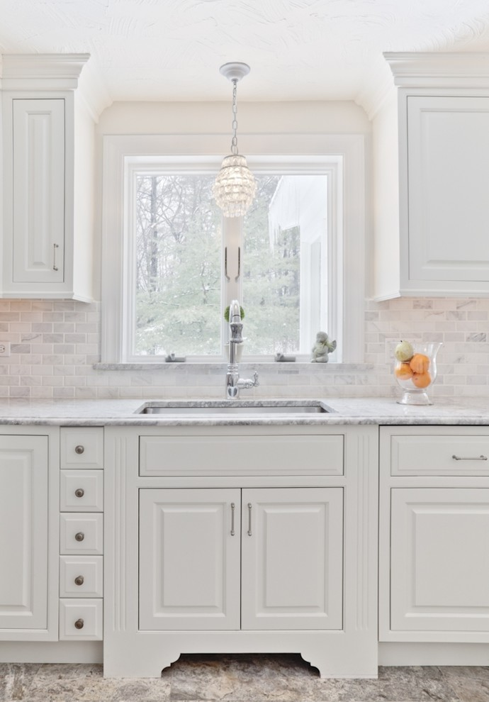 Franke Sinks Kitchen Traditional with Marble Countertop Marble Floor Monochromatic Pendant Light