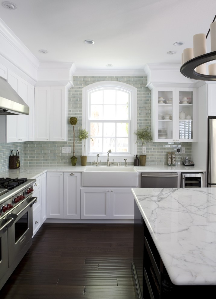 franke sinks Kitchen Traditional with apron sink arched window backsplashes ceiling lighting