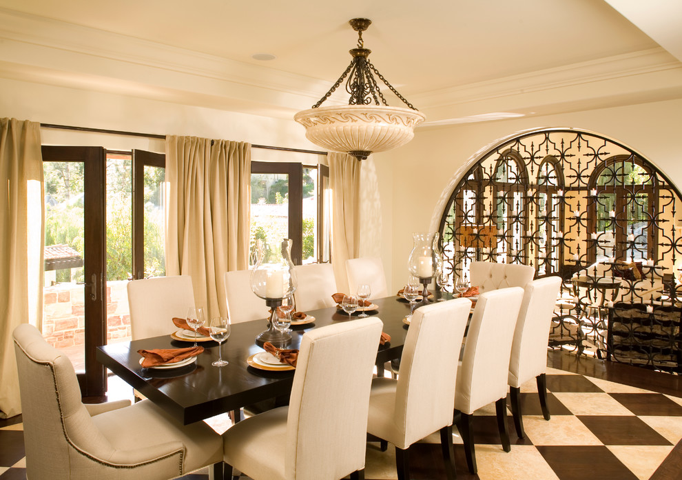 Franklin Iron Works Lighting Dining Room Mediterranean with Archway Bowl Chandelier Crown Molding Curtains Drapes