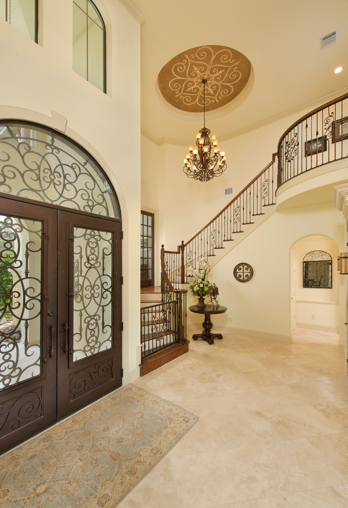 Franklin Iron Works Lighting Entry Traditional with Arched Doorway Arched Window Archway Beige Stone