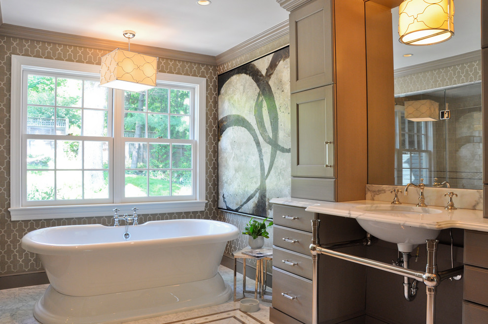 Freestanding Bathtub Bathroom Contemporary with Abstract Art Beige Cabinets Beige Drawers Beige1