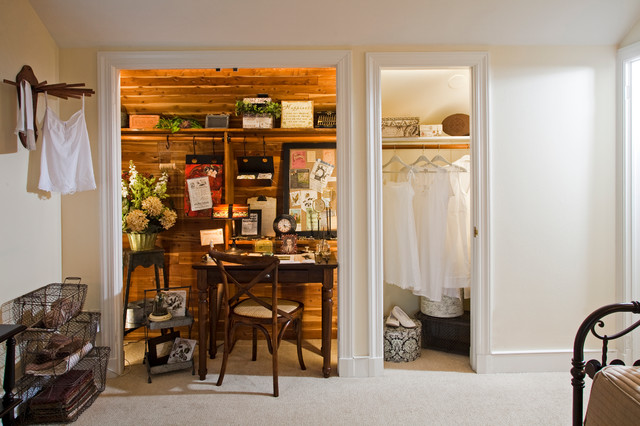 Freestanding Closet Home Office Shabby Chic with Alcove Chair Comfort Conversion Converted Closet Desk Guest Room
