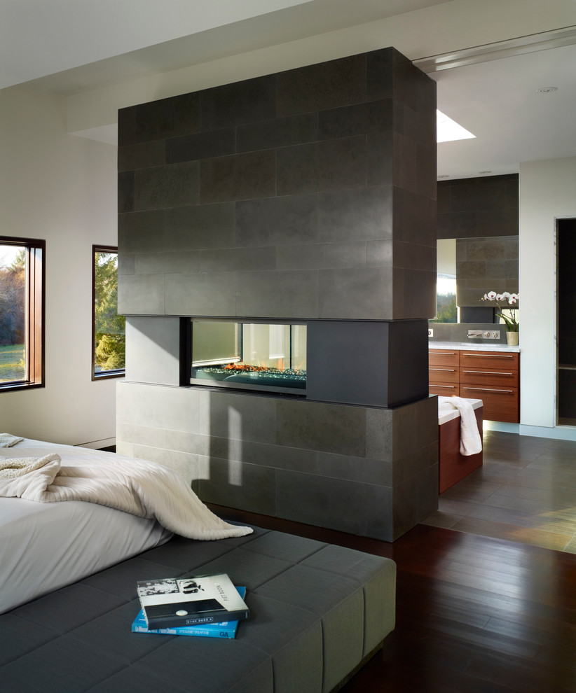 Freestanding Fireplace Bedroom Contemporary with Architecture Basalt Tile Bluestone Tile Contemporary Design