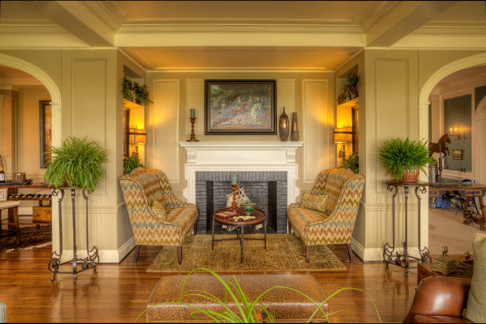 Freestanding Fireplace Family Room Traditional with Accent Chairs Area Rug Beige Walls Bench