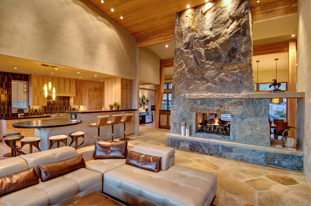 Freestanding Fireplace Living Room Contemporary with Breakfast Bar Ceiling Lighting Eat in Kitchen
