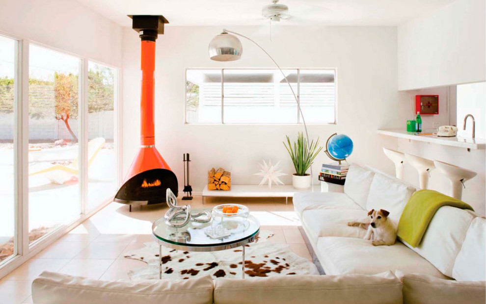 Freestanding Fireplace Living Room Midcentury with Bright Color Chrome Cowhide Dog Glass Coffee