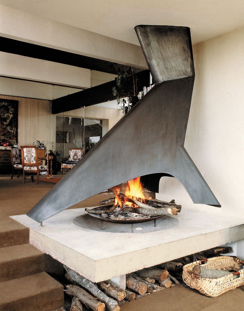 Freestanding Fireplace Living Room Modern with Fire Bowl Firewood Storage Freestanding Fireplace Open