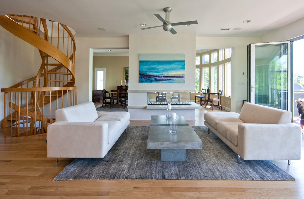 Freestanding Fireplace Living Room Tropical with Area Rug Beach House Ceiling Fan Ceiling