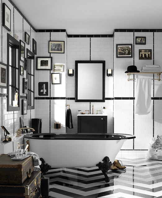 Freestanding Pet Gate Bathroom Traditional with 1920s Bathroom Antiques Artifacts Bathroom Solutions Black and White